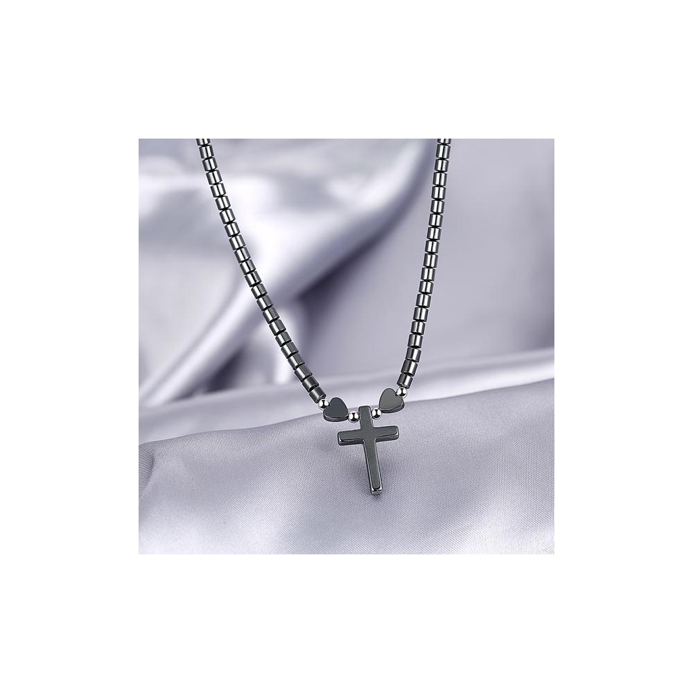 224cfe456417a Collier avec pendentif Croix métallique- Noir - AFRIKDISCOUNT