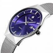 WWOOR Pour homme décontracté montre à quartz en acier inoxydable en maille Bande avec affichage de la date