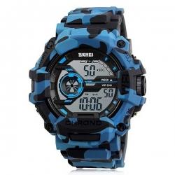 SKMEI - Montre style militaire de sports de camouflage, bleu LED le contre-jour de chronomètre imperméable à l'eau