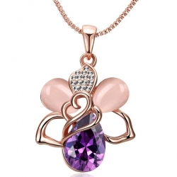 "Collier Collection "" Opal Purple love "" - Plaqué Or rose, cristaux et Opale"