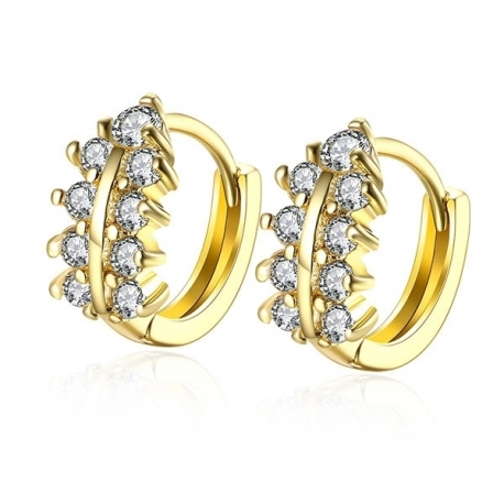 "Boucles d'oreilles collection "" Goldy Woman "" - Plaqué Or et Zirconium"