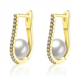 """Boucles d'oreille """" Golden Lady """" - Plaquée Or et Zirconium"""