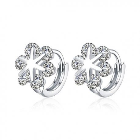 """Boucles d'oreilles collection """" Diamond Star """" - Plaqué Platine et Zirconium"""