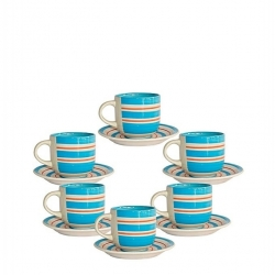 Set De 6 Tasses à Café + Sous-Tasse En Porcelaine - Bleu
