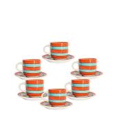 Set De 6 Tasses à Café + Sous-Tasse En Porcelaine - Orange